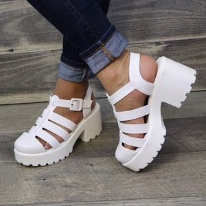 Shoes - NEW! White Caged Chunky Gladiator Platform Sandals